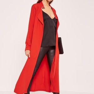 Premium Crepe Buckle Neck Waterfall Duster in Red